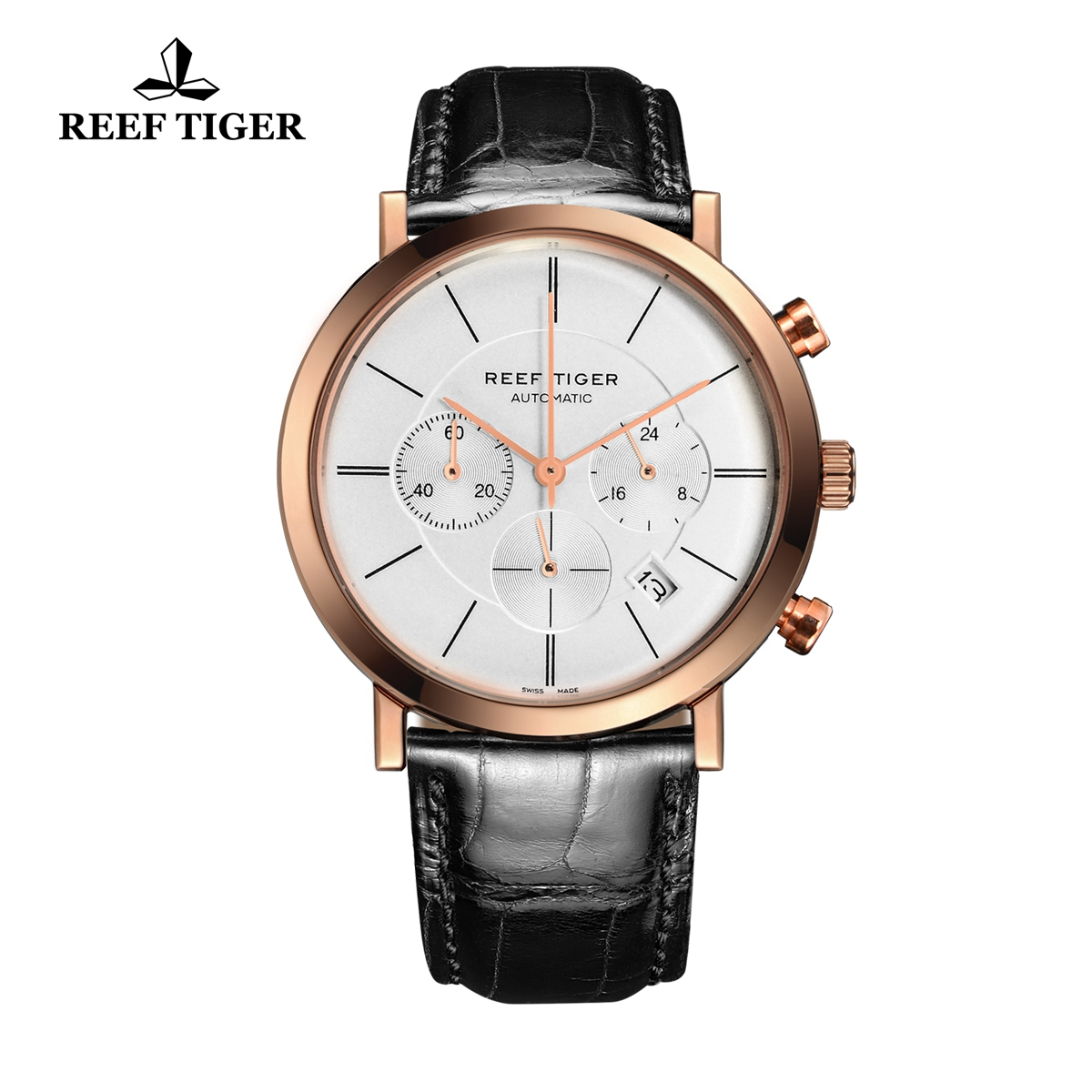 Reef Tiger Business Watch Ultra Thin Rose Gold White Dial Chronograph Quartz Watch RGA162-PWB