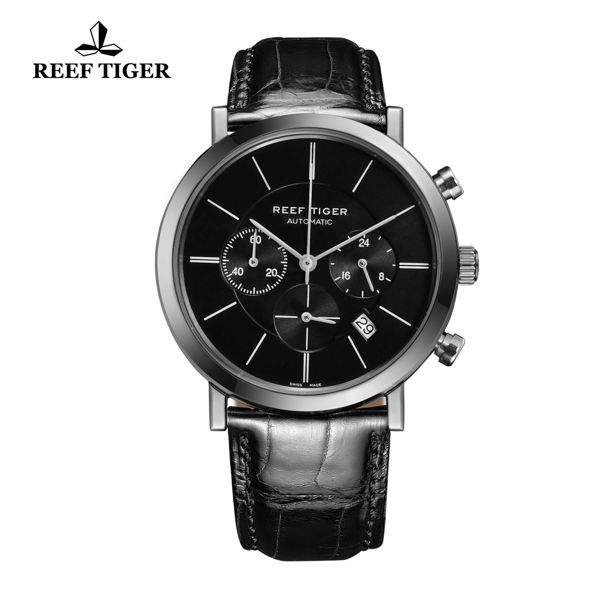 Reef Tiger Business Watch Ultra Thin Stainless Steel Black Dial Chronograph Quartz Watch RGA162-YBB