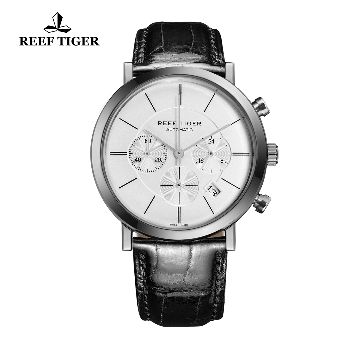 Reef Tiger Business Watch Ultra Thin Stainless Steel White Dial Chronograph Quartz Watch RGA162-YWB