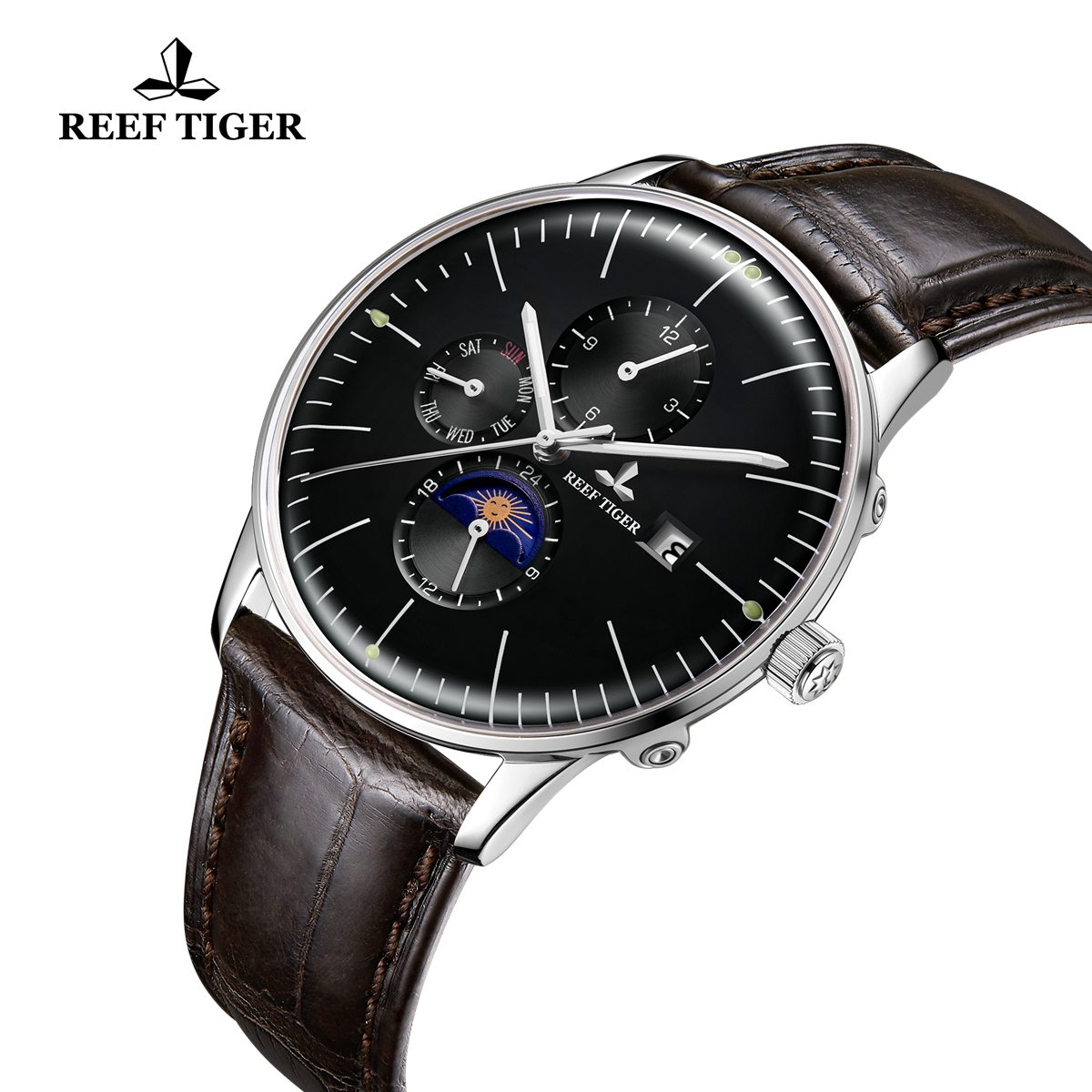 Reef Tiger Seattle Philosopher Classic Casual Men Watch Leather Strap Automatic Watches with Date Day RGA1653-YBB