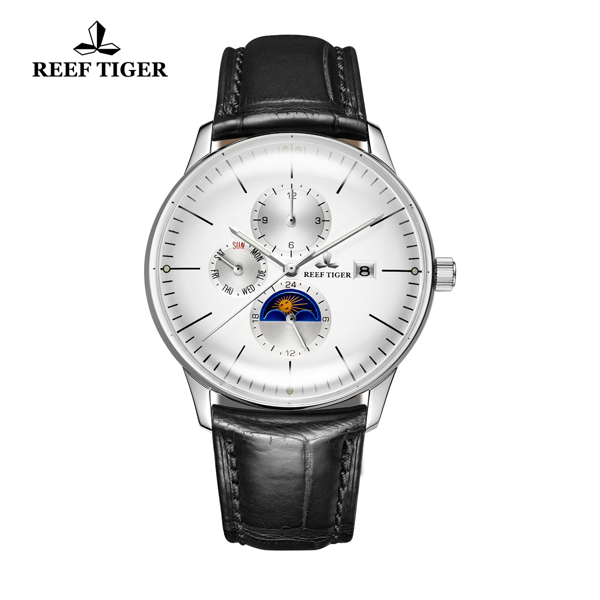 Reef Tiger Seattle Philosopher Men's Classic Casual Watch Leather Strap Automatic Watches with Date Day RGA1653-YWB