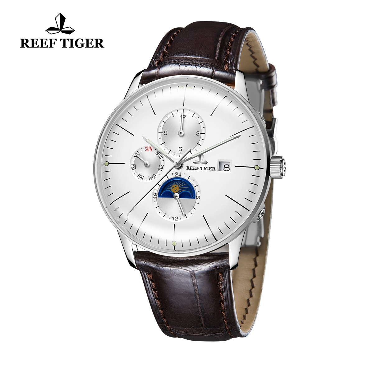 Reef Tiger Seattle Philosopher Classic Casual Watches Leather Strap Automatic Watch with Date Day For Men RGA1653-YWS