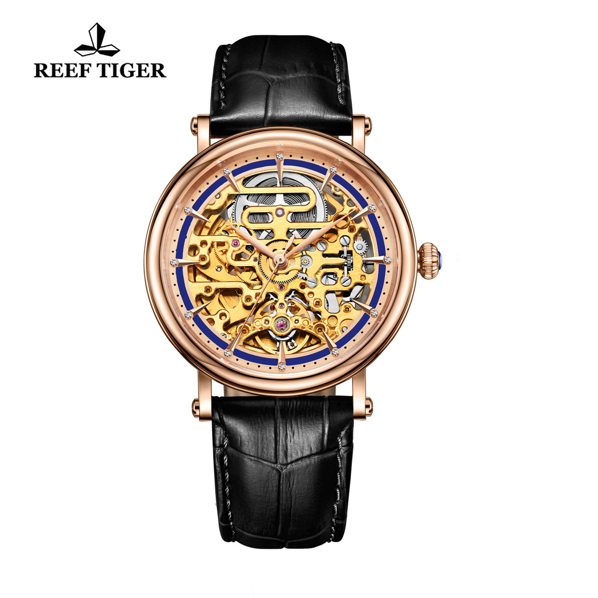 Reef Tiger Casual Watch with Baroque Style Skeleton Dial Rose Gold Case RGA1917-PLB