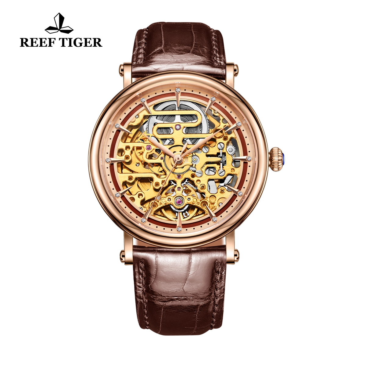 Reef Tiger Casual Watch with Baroque Style Skeleton Dial Rose Gold Case RGA1917-PSB