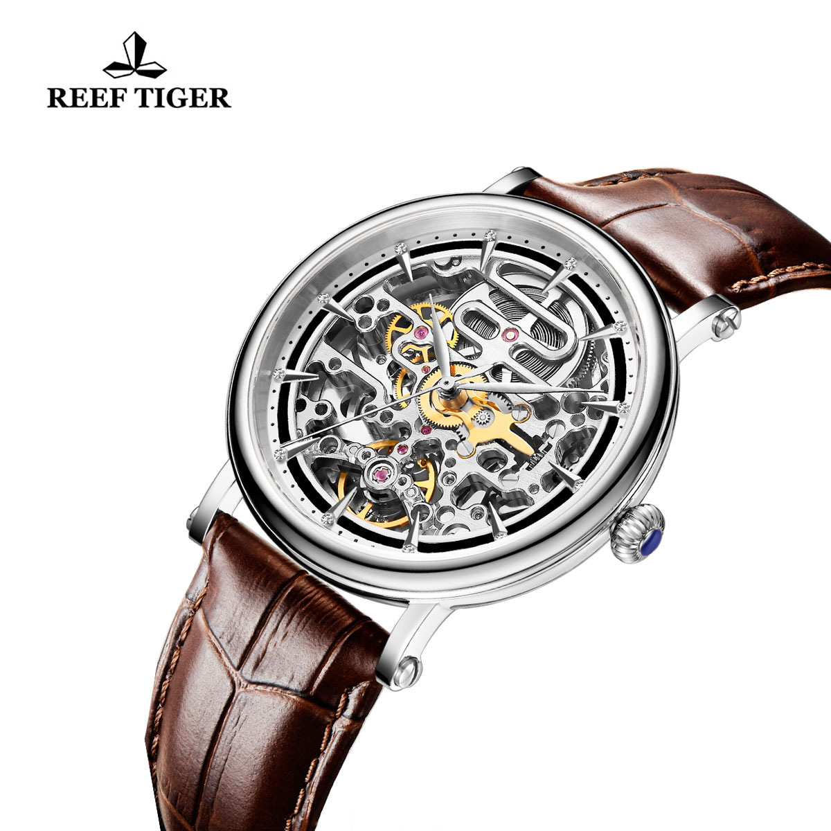 Reef Tiger Casual Watch with Baroque Style Skeleton Dial Steel Case RGA1917-YBB