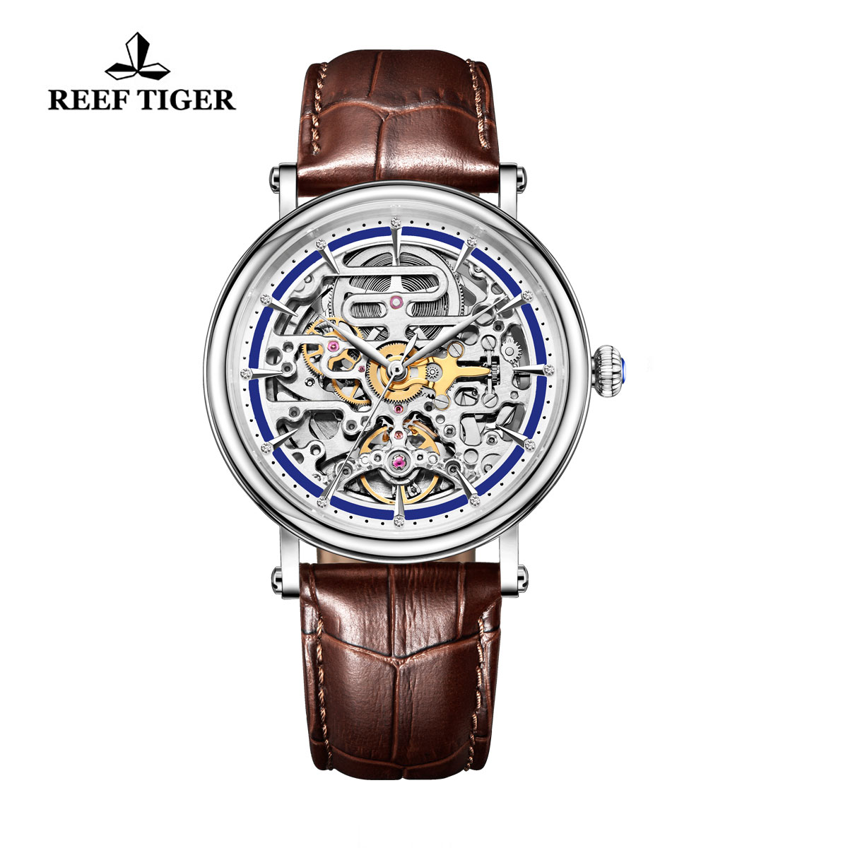 Reef Tiger Casual Watch with Baroque Style Skeleton Dial Steel Case RGA1917-YLB