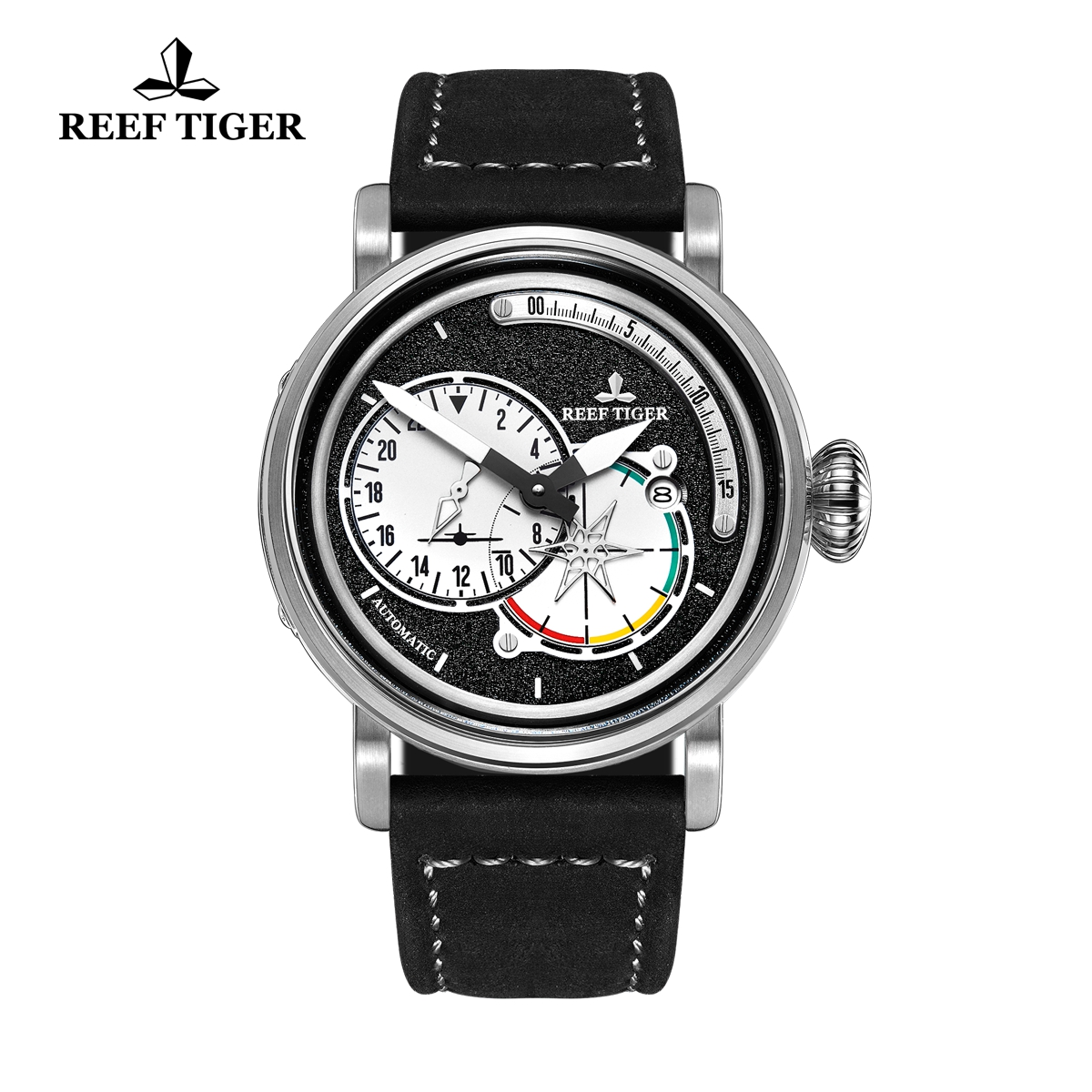 Reef Tiger Pilot Fashion Mens Watches Steel Case Black Dial Leather Strap Watches RGA3019-YBB