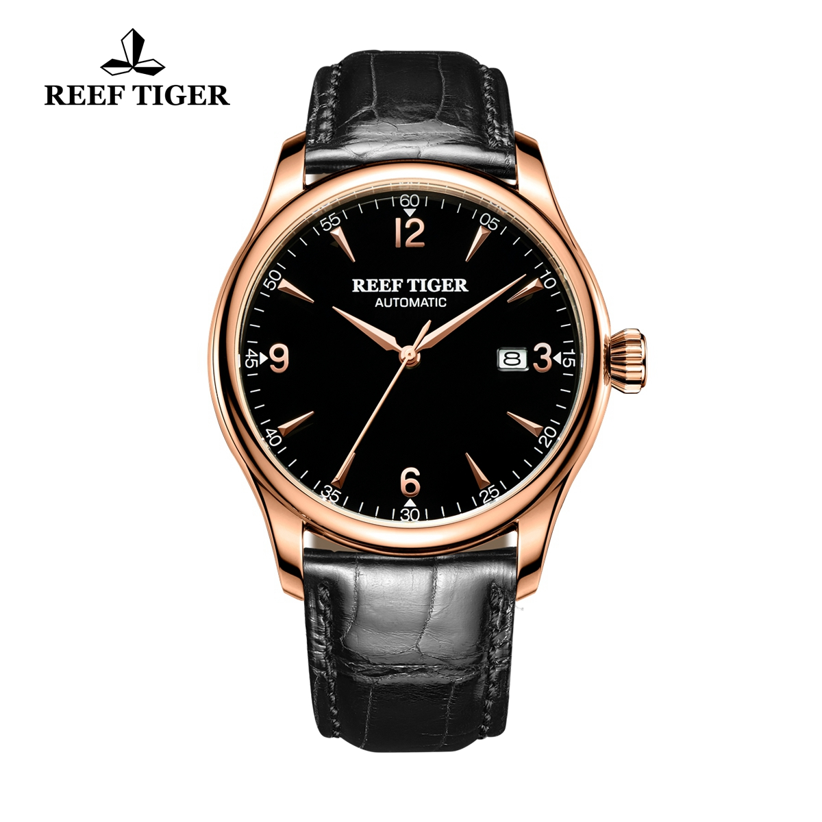 Reef Tiger Heritage Dress Automatic Watch Black Dial Calfskin Leather Strap RGA823G-PBB