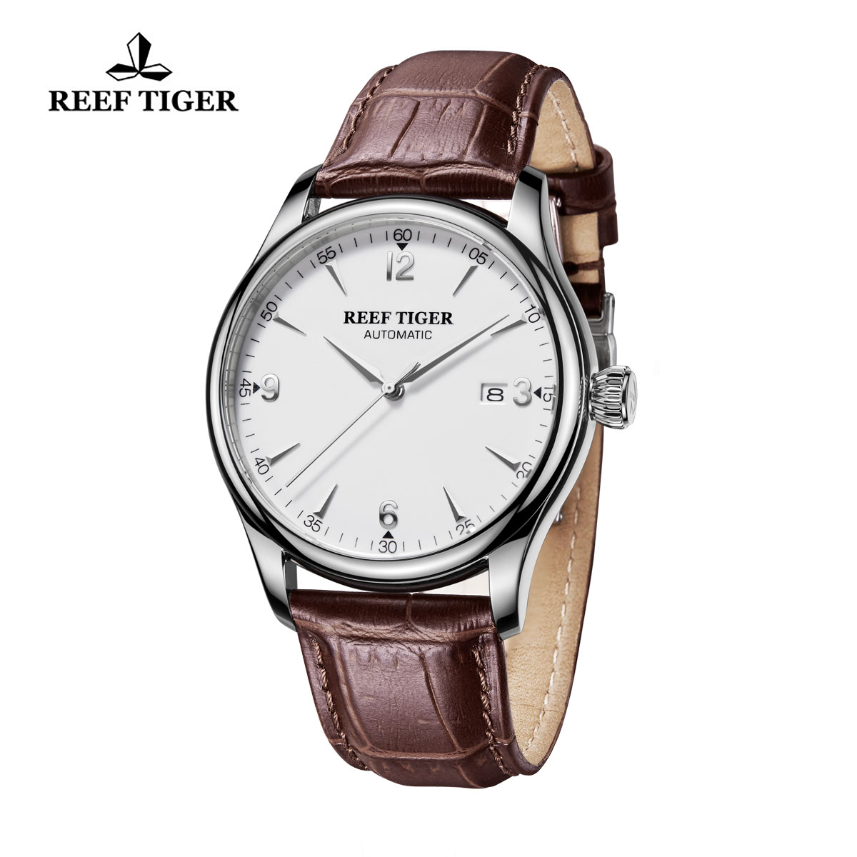 Reef Tiger Heritage Dress Watch Automatic White Dial Calfskin Leather Steel Case RGA823G-YWB