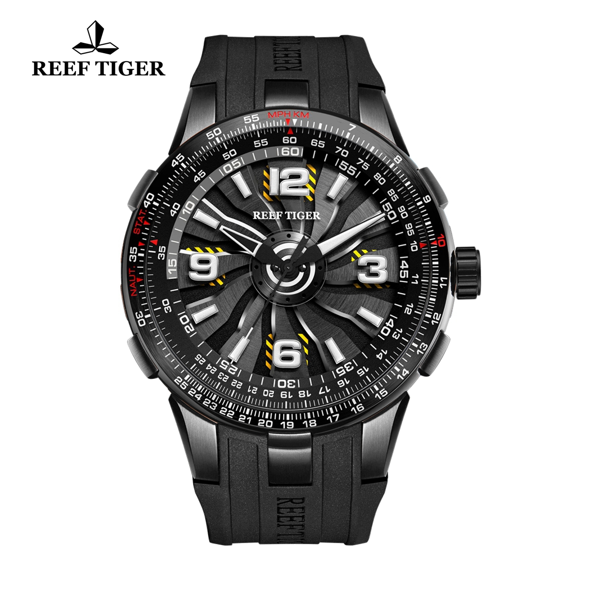 Reef Tiger Aurora Turbo Fashion Sport Watches PVD Black Rubber Watch RGA3059-BBB