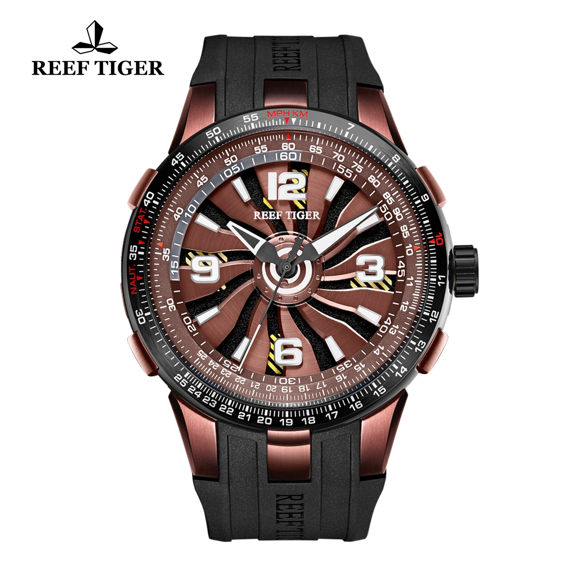 Reef Tiger Aurora Turbo Fashion Sport Watches Brown Dial Black Rubber Watch RGA3059-BSB