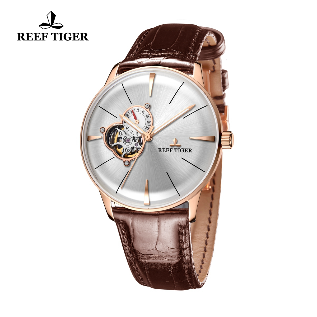 Reef Tiger Classic Glory White Dial CAutomatic Watch alfskin Leather Strap RGA8239-PWB