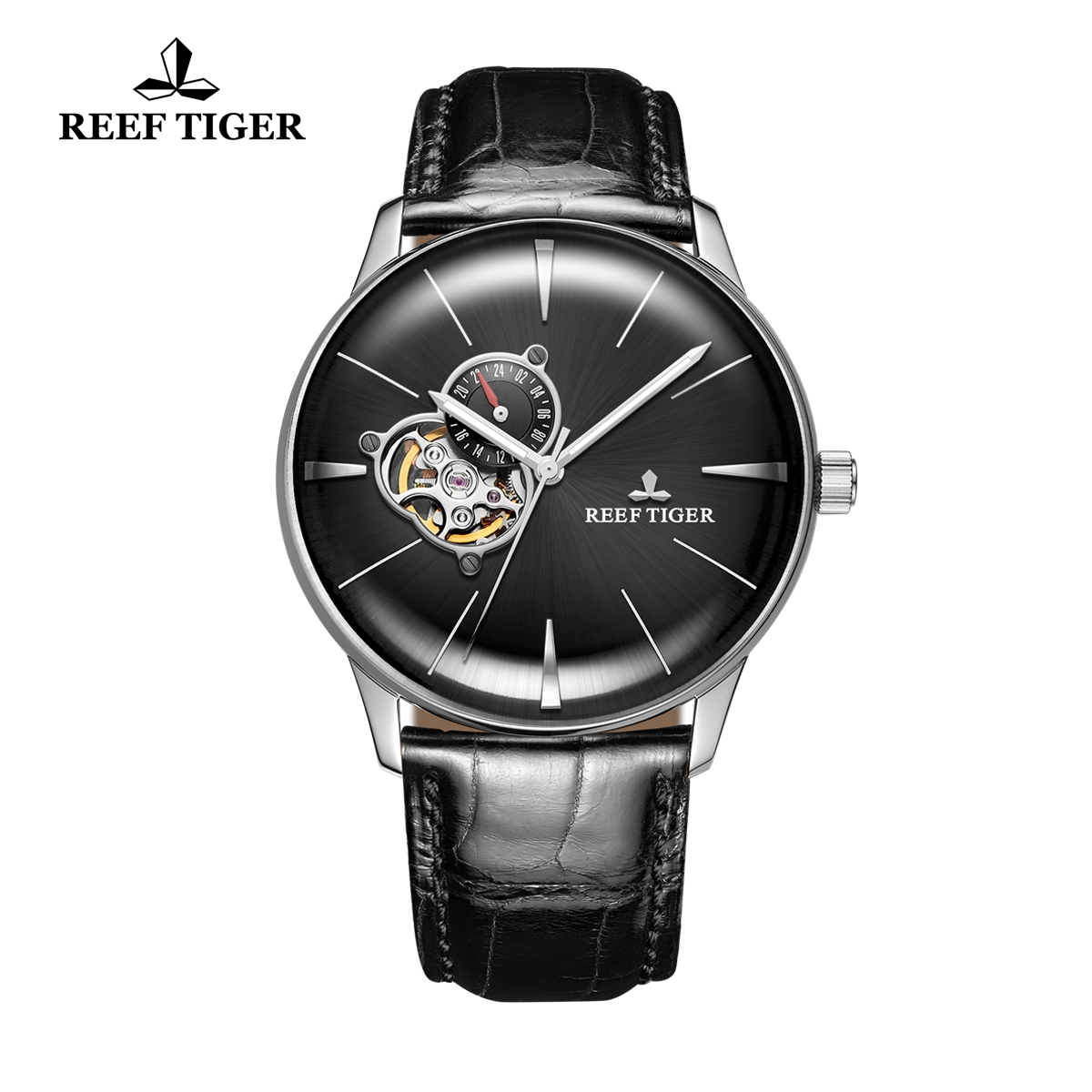 Reef Tiger Classic Glory Men's Automatic Watch Black Dial Calfskin Leather Strap RGA8239-YBB