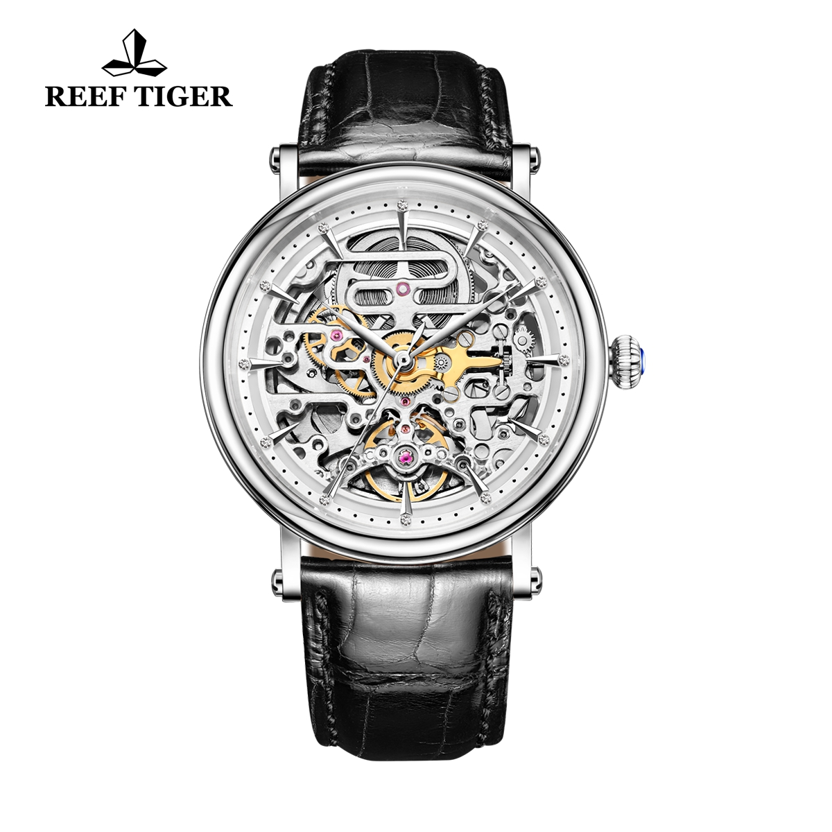 Reef Tiger Casual Watch with Baroque Style Skeleton Dial Steel Calfskin Leather RGA1917-YWB
