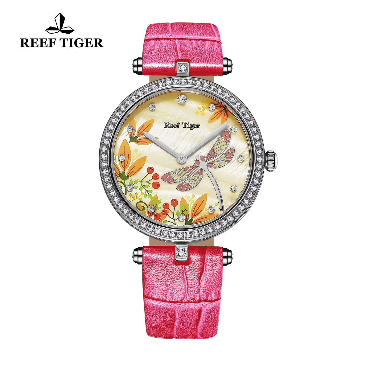 Reef Tiger Fashion Watch Yellow MOP Dial Quartz Stainless Steel Lady Watch RGA151-YGRD