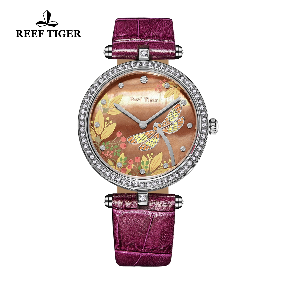 Reef Tiger Fashion Watch Brown MOP Dial Quartz Stainless Steel Lady Watch RGA151-YPPD