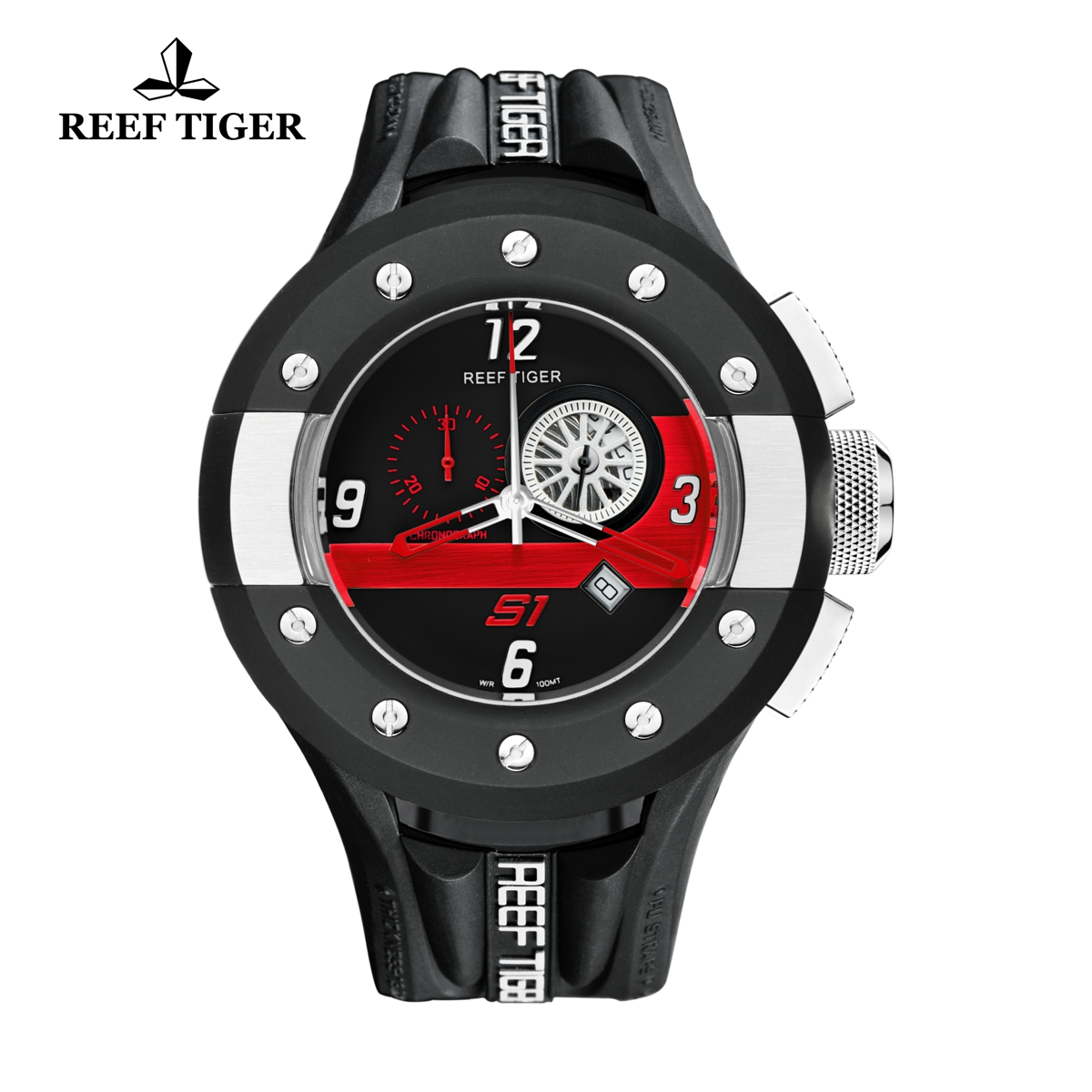Reef Tiger Rally S1 Casual Watch Stainless Steel Dashboard Dial Rubber Strap Quartz Watch RGA3027-BBBR