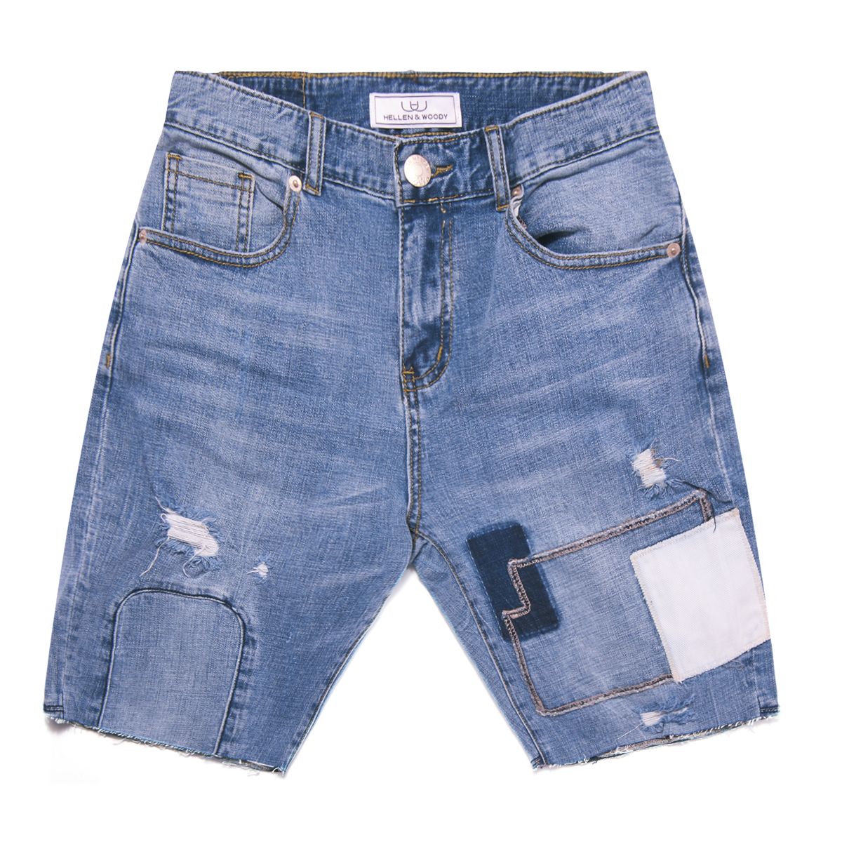 HELLEN&WOODY/H&W Men's Fashion Destroyed Blue Jeans Ripped Destroyed Pants HW1605