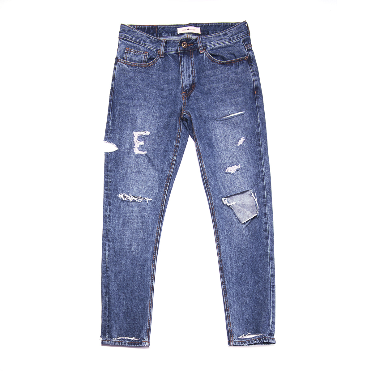 HELLEN&WOODY/H&W Mens Ripped Skinny Destroyed fit Jeans Blue Long Pants with Holes 1608