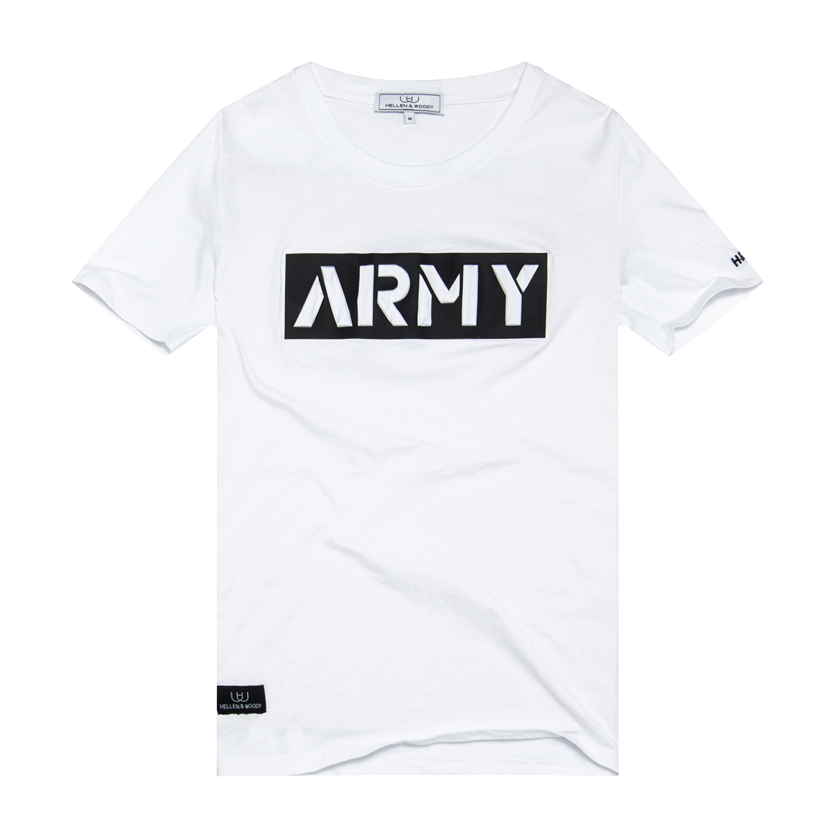 HELLEN&WOODY/H&W Simple Three-dimensional ARMY Crew Neck Men's Cotton Short Sleeve T-Shirt 1701