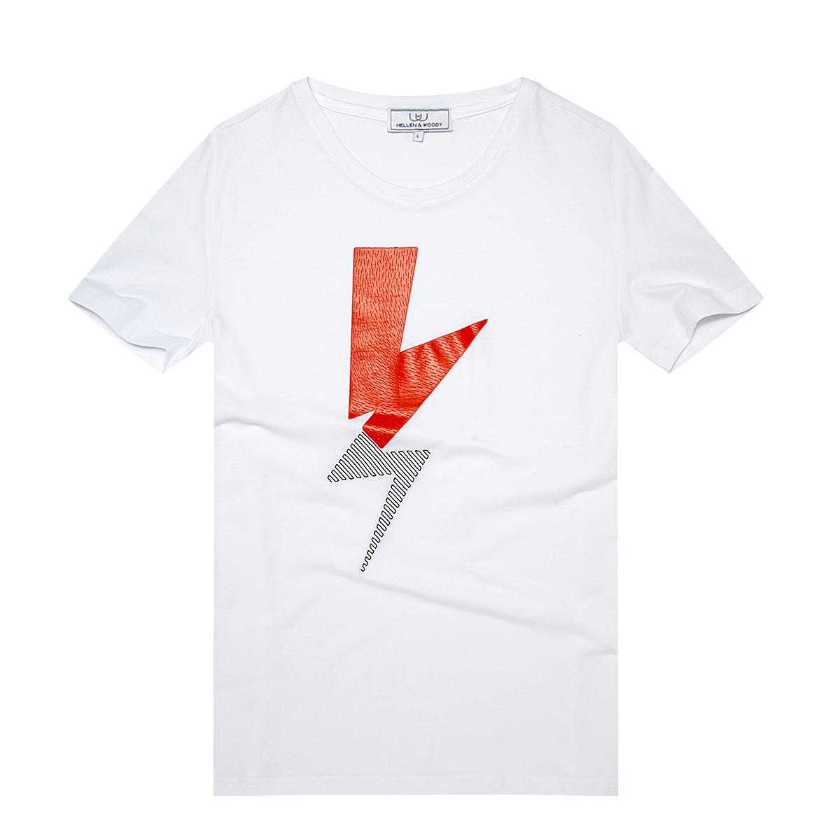 HELLEN&WOODY/H&W Three-dimensional Lightning Design T Shirts Mens Fahion Short-Sleeve Printed T-shirt in White Black 1705
