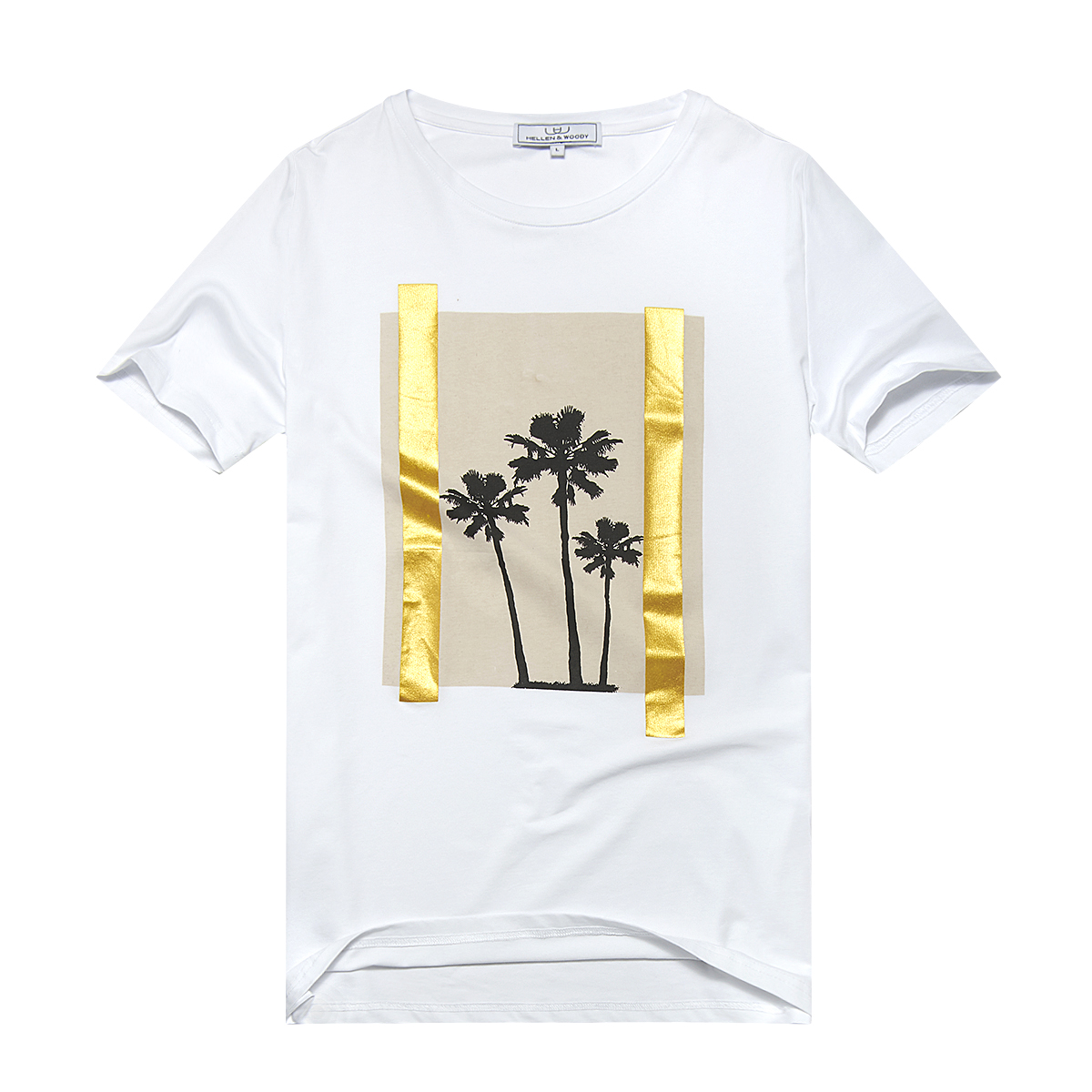 HELLEN&WOODY/H&W Fresh Coconut Trees Printing T-Shirt for Men Summer Short Sleeve Crew Silm Tee 1712