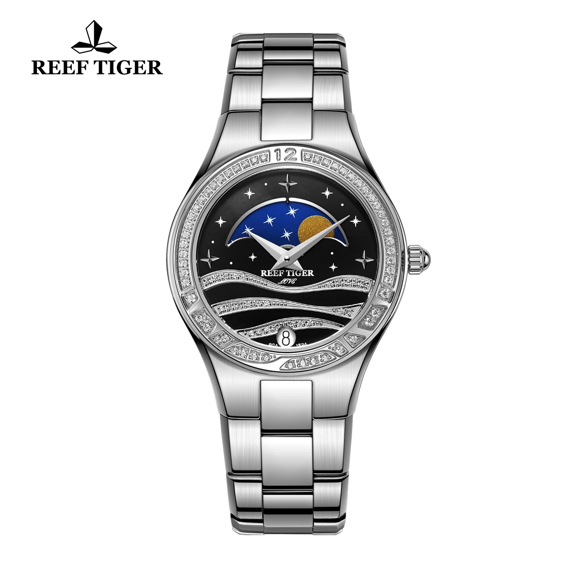 Reef Tiger Love Stars Fashion Quartz Watch Steel Black Dial RGA1524-YBY