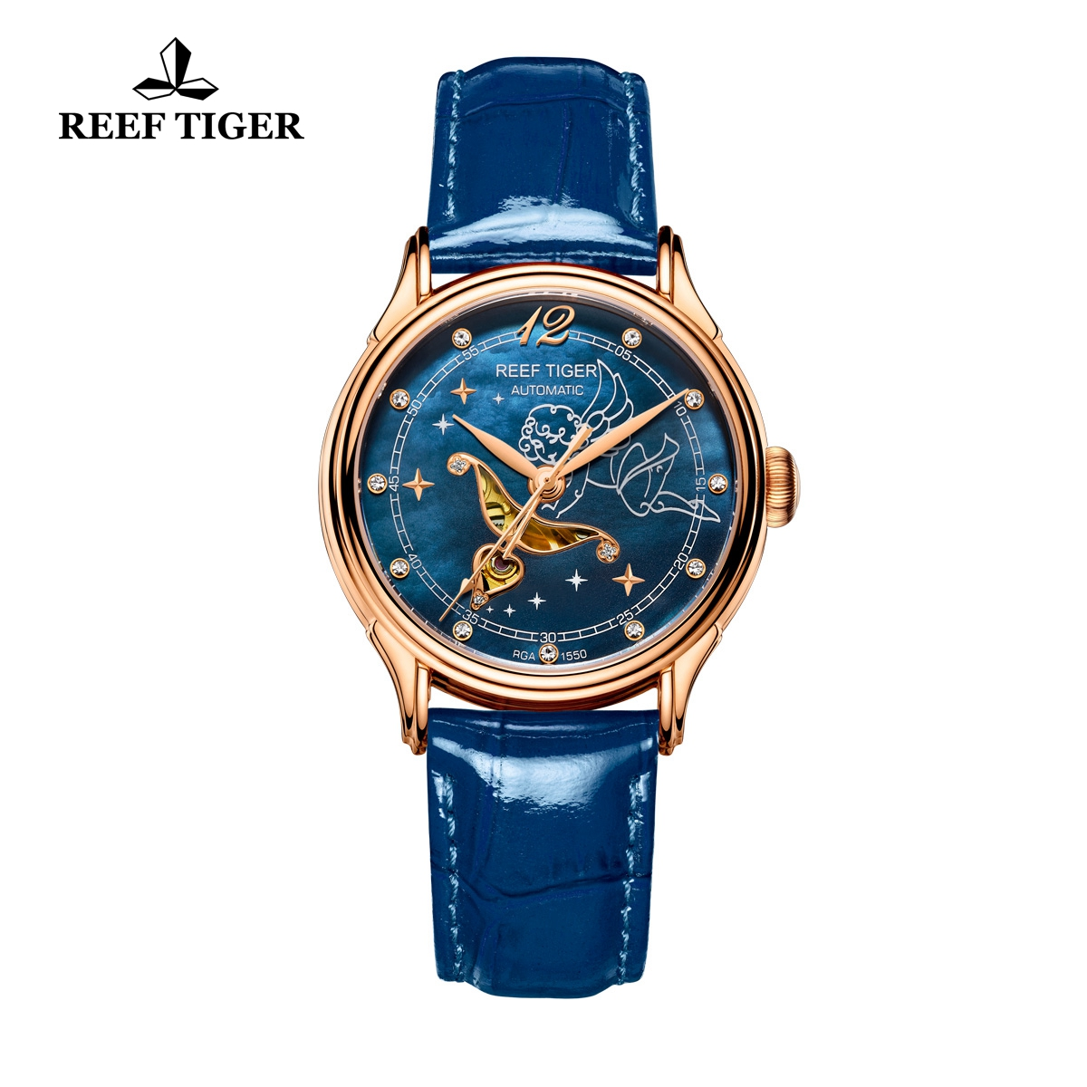 Reef Tiger Luxury Lady Rose Gold Watch Blue MOP Dial Automatic Watch RGA1550-PLL