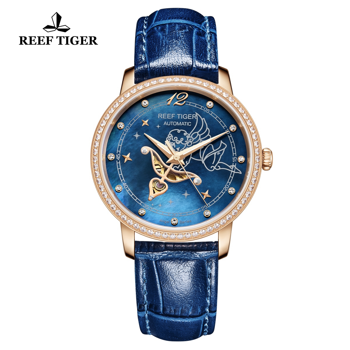 Reef Tiger Luxury Diamonds Watch Blue MOP Dial Automatic Rose Gold Lady Watch RGA1550-PLLD