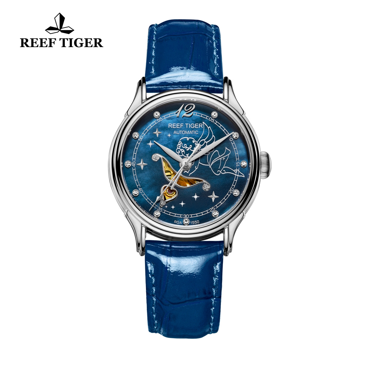 Reef Tiger Lady Fashion Steel Watch Blue MOP Dial Automatic Watch For Women RGA1550-YLL