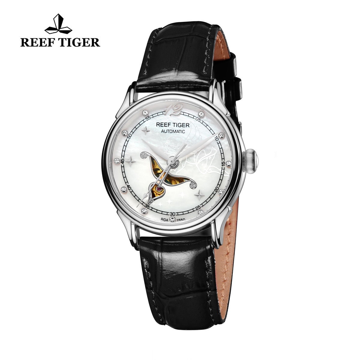 Reef Tiger Fashion Watch White MOP Dial Automatic Steel Lady Watch RGA1550-YWL