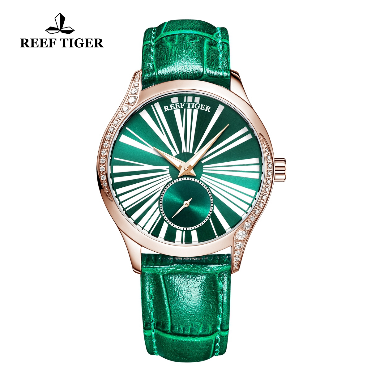 Reef Tiger Love Highness Casual Diamonds Bezel Watch Rose Gold Case Leather Strap RGA1561-PNN