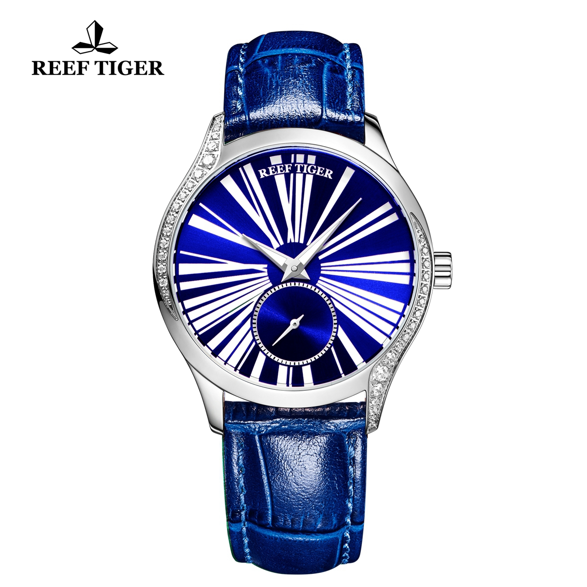 Reef Tiger Love Highness Casual Diamonds Bezel Watch Steel Case Leather Strap RGA1561-YLL