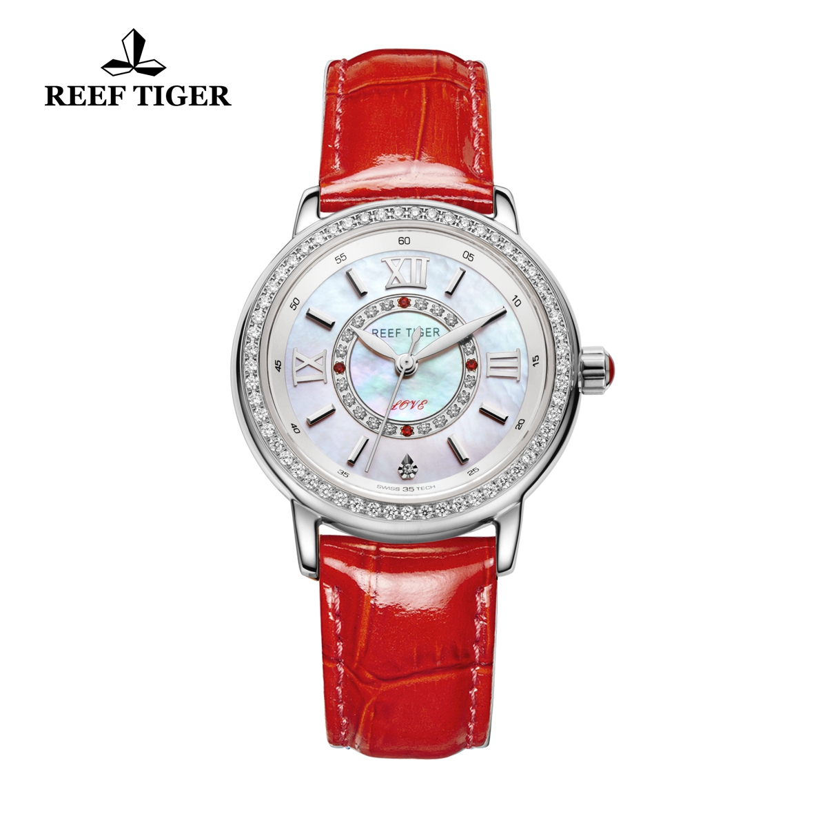 Reef Tiger Lady Fashion Watch White MOP Dial Quartz Stainless Steel Diamonds Bezel Watch RGA1563-YWR