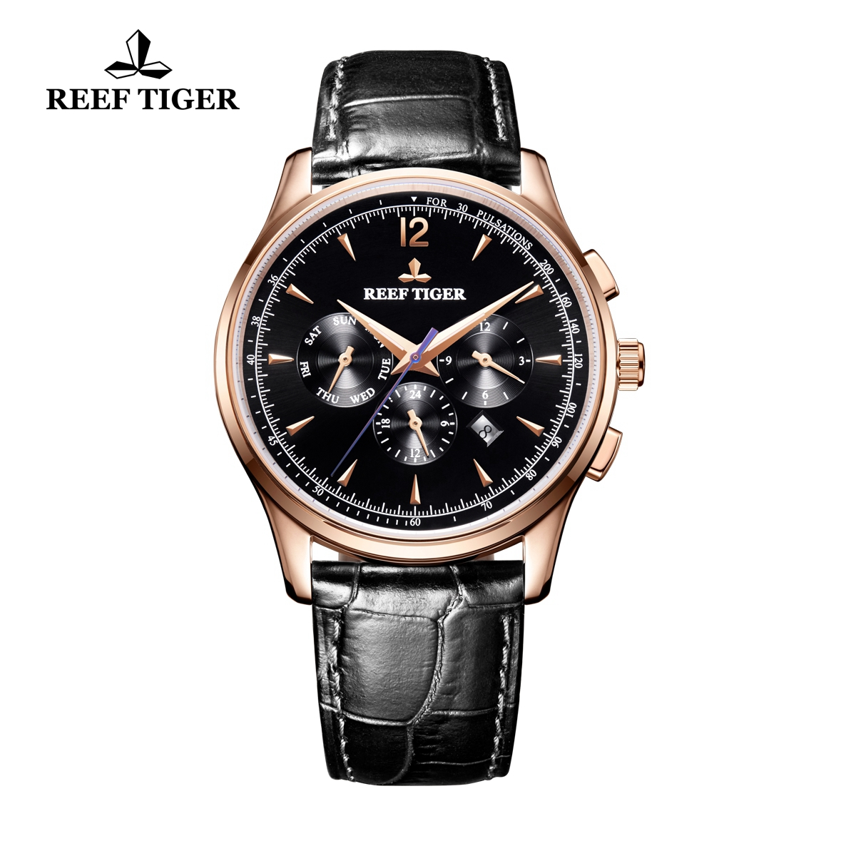 Reef Tiger Seattle Museum Dress Automatic Watch Rose Gold Black Dial Black Leather Strap RGA1654-PBB