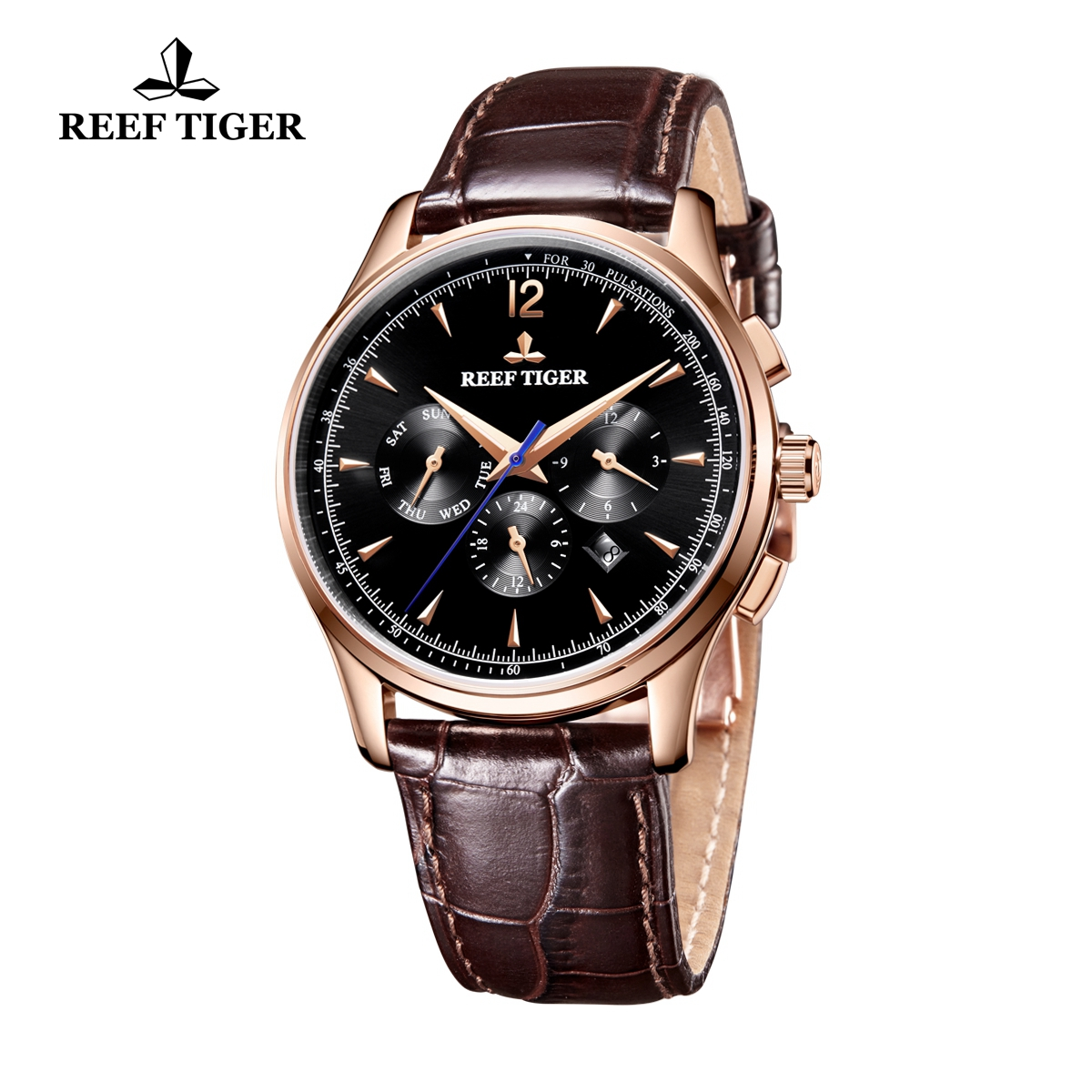 Reef Tiger Seattle Museum Dress Automatic Watch Rose Gold Black Dial Black Leather Strap RGA1564-PBB