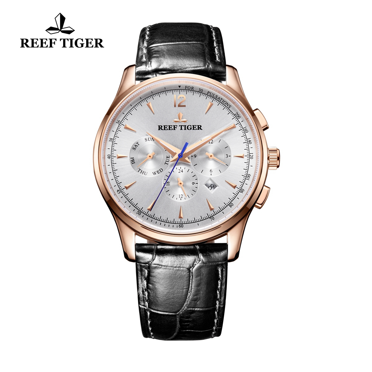 Reef Tiger Seattle Museum Fashion Automatic Watch Rose Gold White Dial Black Leather Strap RGA1654-PWB