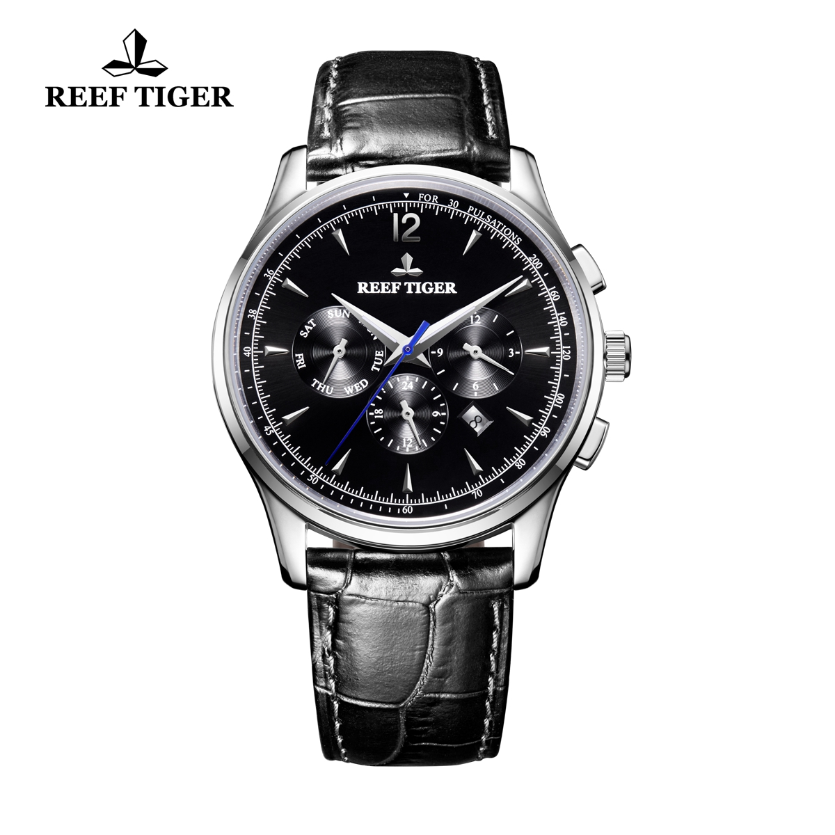 Reef Tiger Seattle Museum Dress Watch Steel Black Dial Black Leather Strap RGA1654-YBB