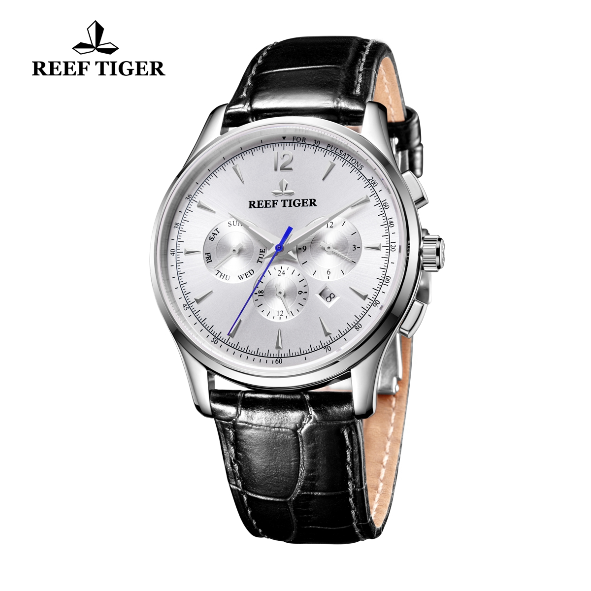 Reef Tiger Seattle Museum Dress Automatic Watch Steel White Dial Black Leather Strap RGA1654-YWB