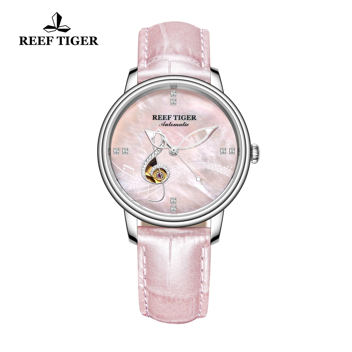 Reef Tiger Fashion Lady Watch Steel Pink Dial Automatic Watch RGA1582-YPP