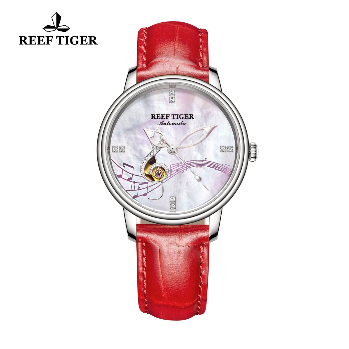 Reef Tiger Fashion Automatic Lady Watch Steel White Dial Watch RGA1582-YWP