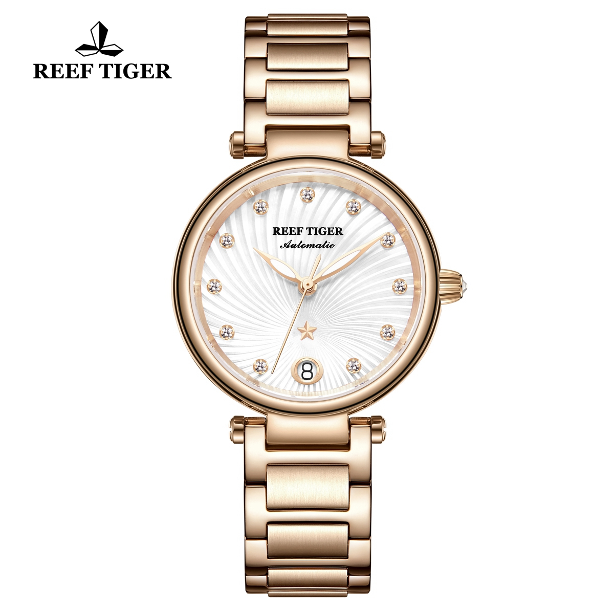Reef Tiger Fashion Lady Watch Rose Gold White Dial Automatic Watch RGA1590-PWP