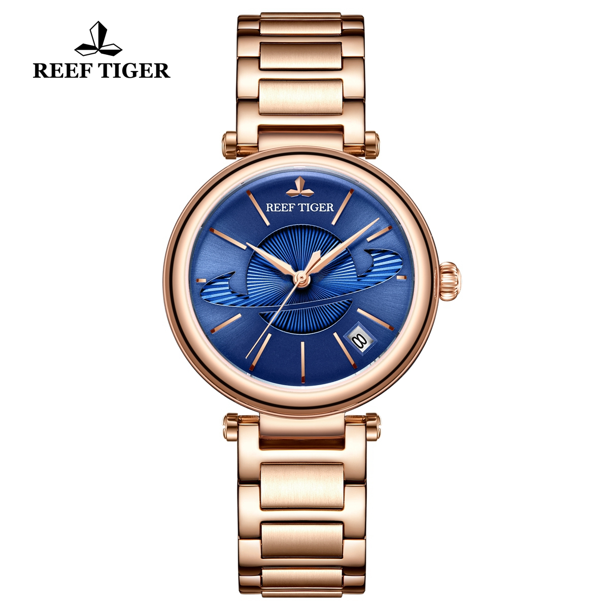 Reef Tiger Love Saturn Fashion Lady Watch Rose Gold Blue Dial Automatic Watch RGA1591-PLP