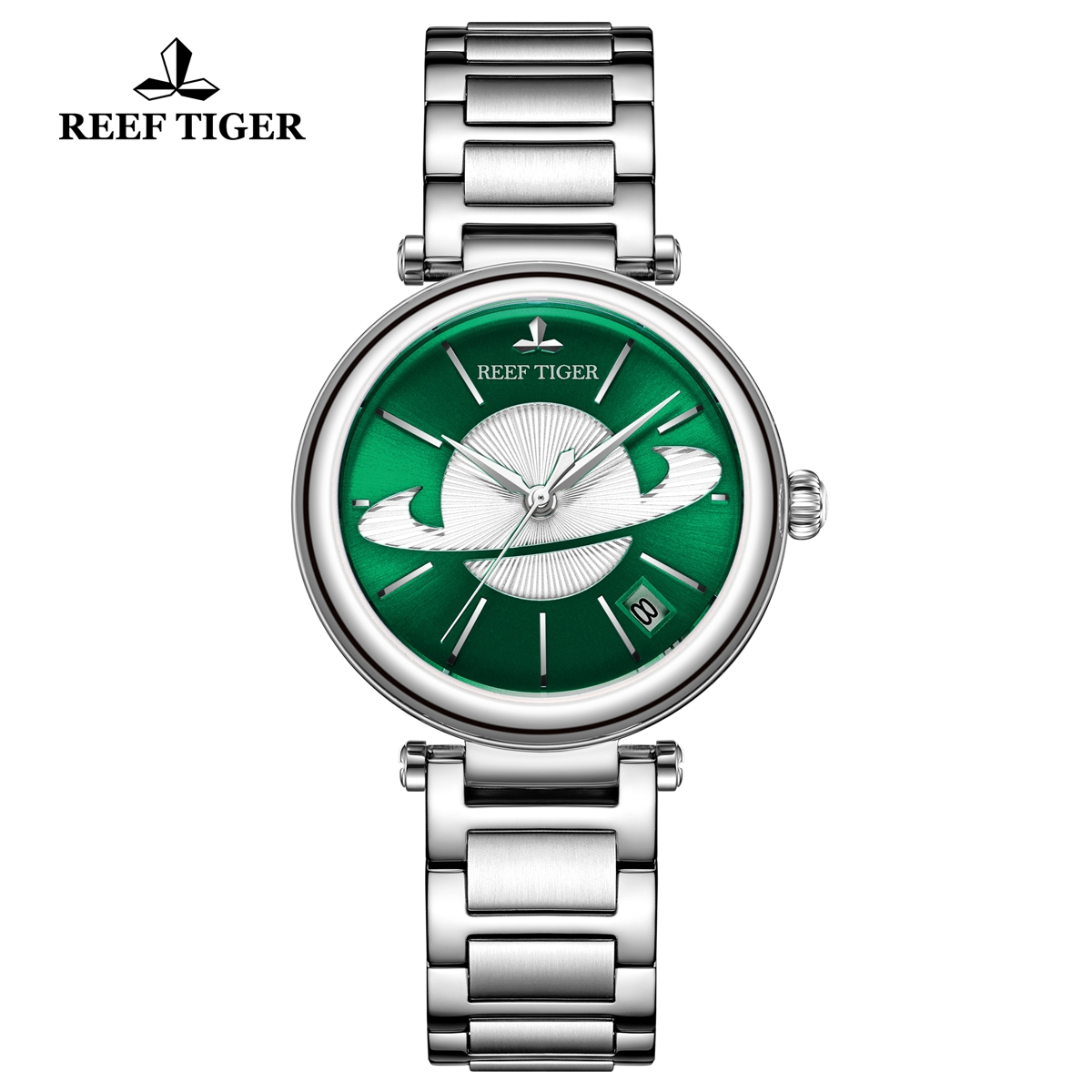 Reef Tiger Love Saturn Fashion Lady Watch Steel Green Dial Automatic Watch RGA1591-YGY