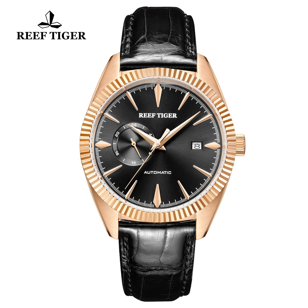 Reef Tiger Seattle Orion Fashion Rose Gold Leather Strap Black Dial Automatic Watch RGA1616-PBB