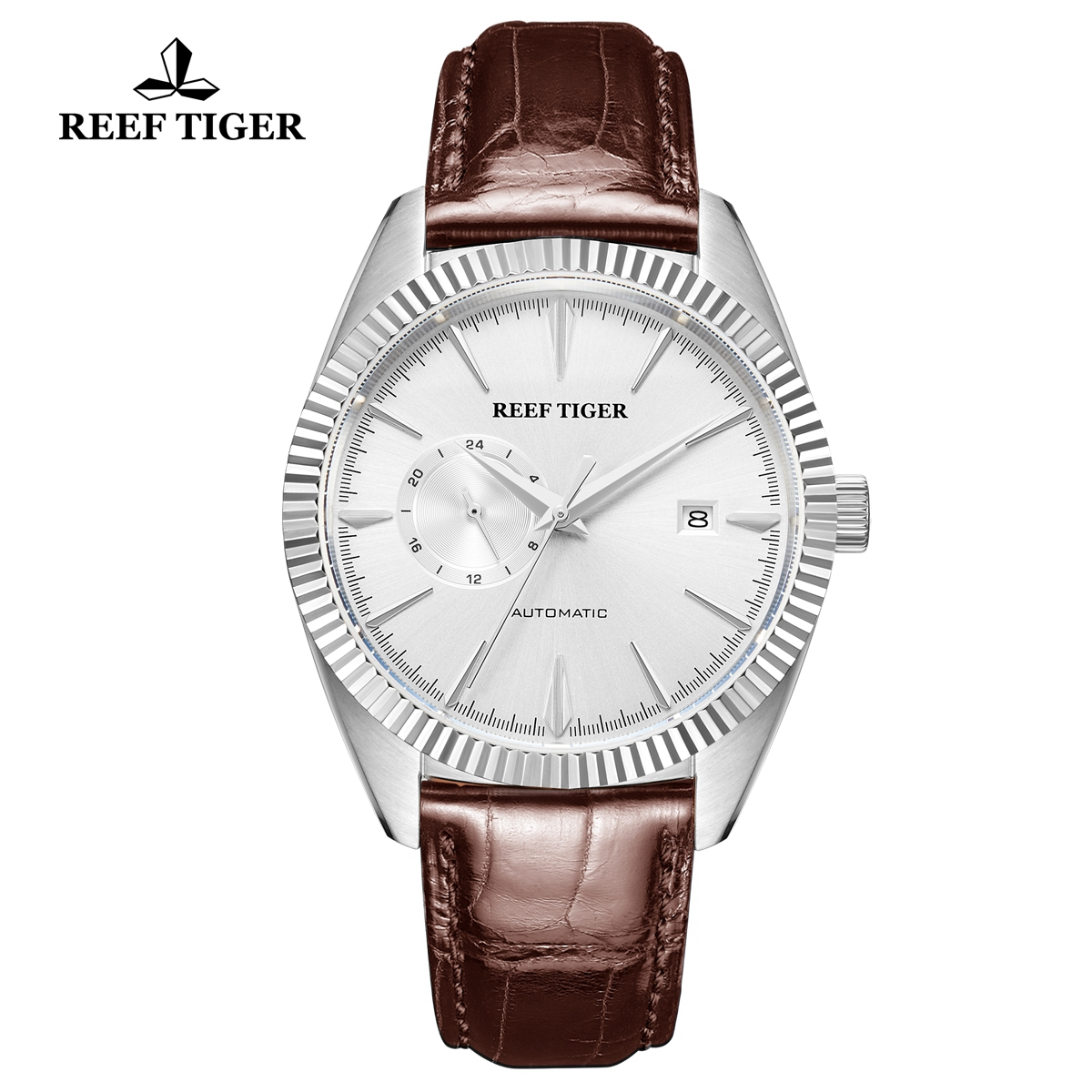 Reef Tiger Seattle Orion Fashion Steel Leather Strap White Dial Automatic Watch RGA1616-YWS