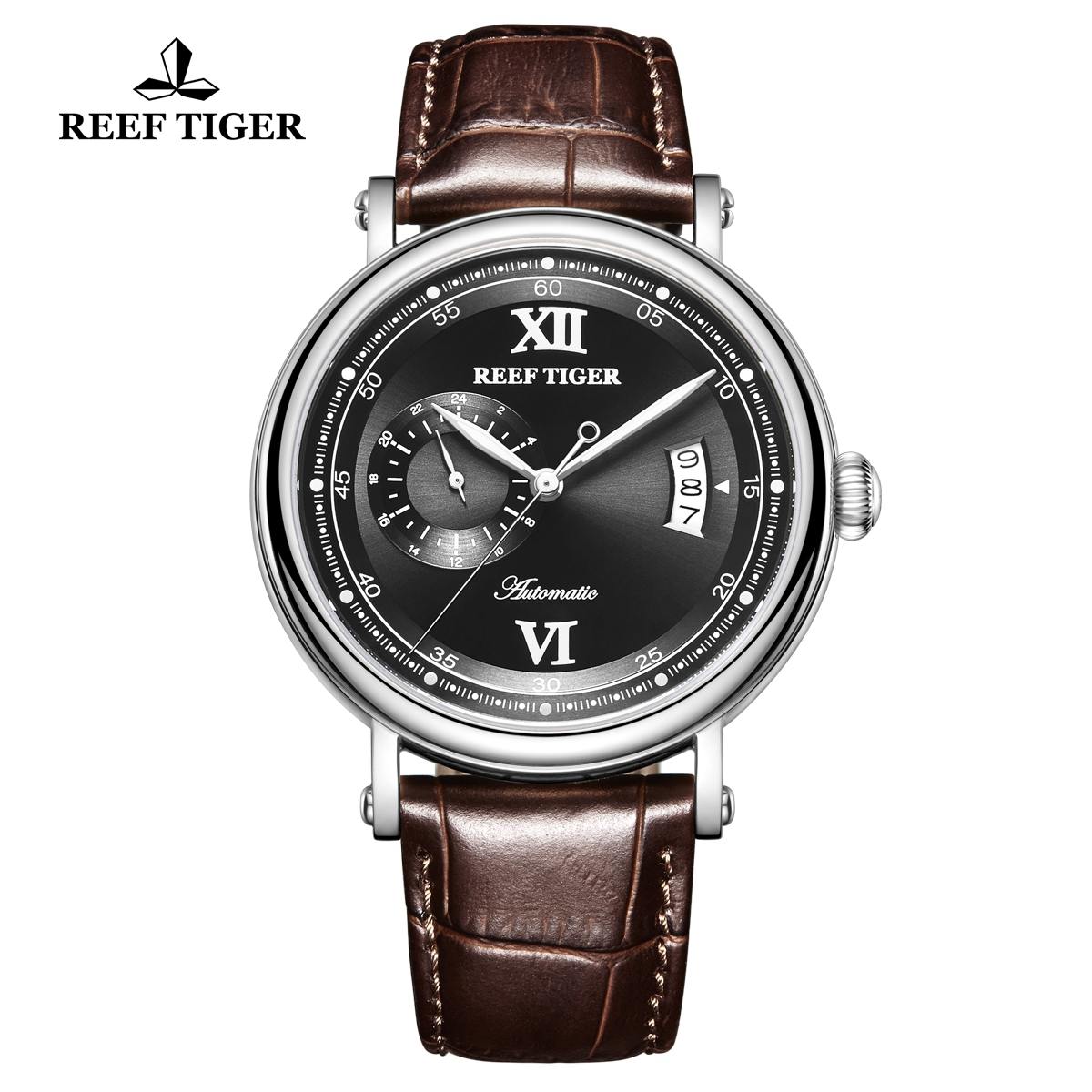 Reef Tiger Seattle Sander Mens Fashion Steel Black Dial Leather Strap Automatic Watch RGA1617-2-YBS