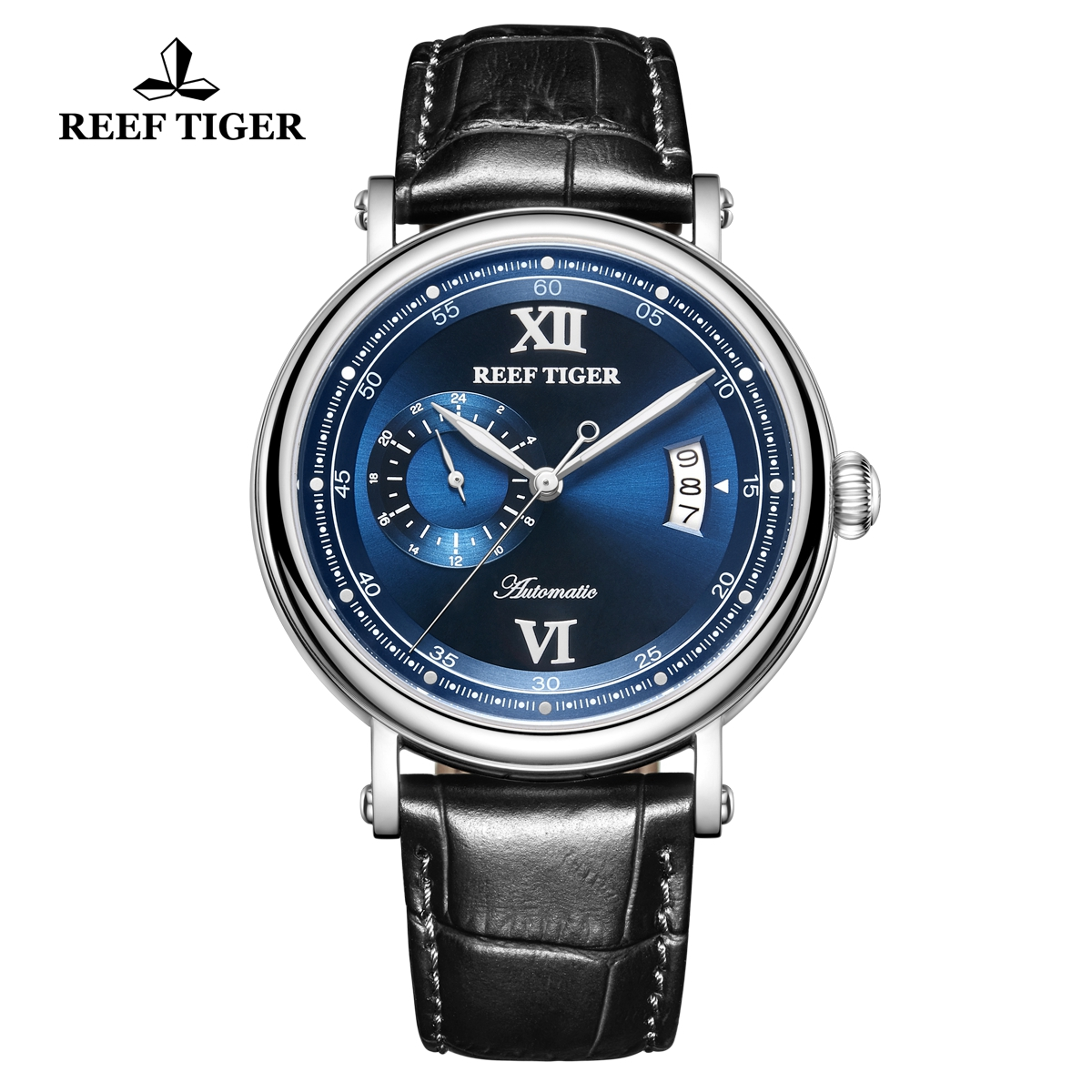 Reef Tiger Seattle Sander Mens Fashion Steel Blue Dial Leather Strap Automatic Watch RGA1617-2-YLB