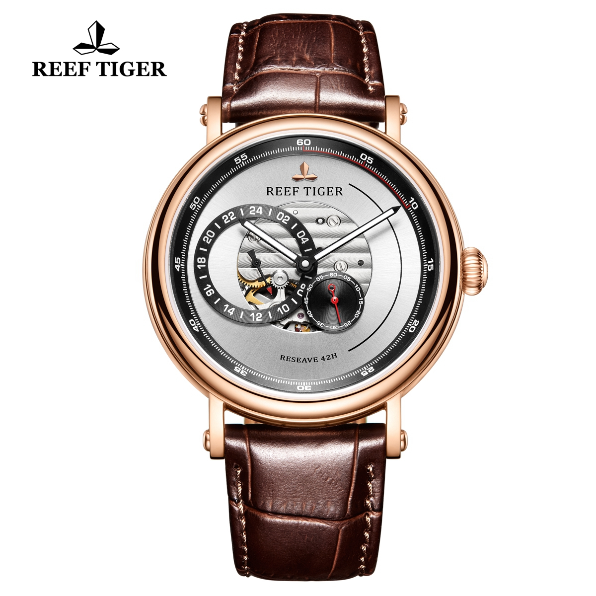 Reef Tiger Seattle Reserve Fashion Rose Gold White Dial Leather Strap Automatic Watch RGA1617-PWS