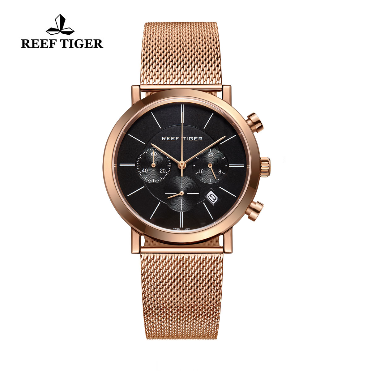 Reef Tiger Business Watch Ultra Thin Rose Gold Black Dial Chronograph Quartz Watch RGA162-PBP